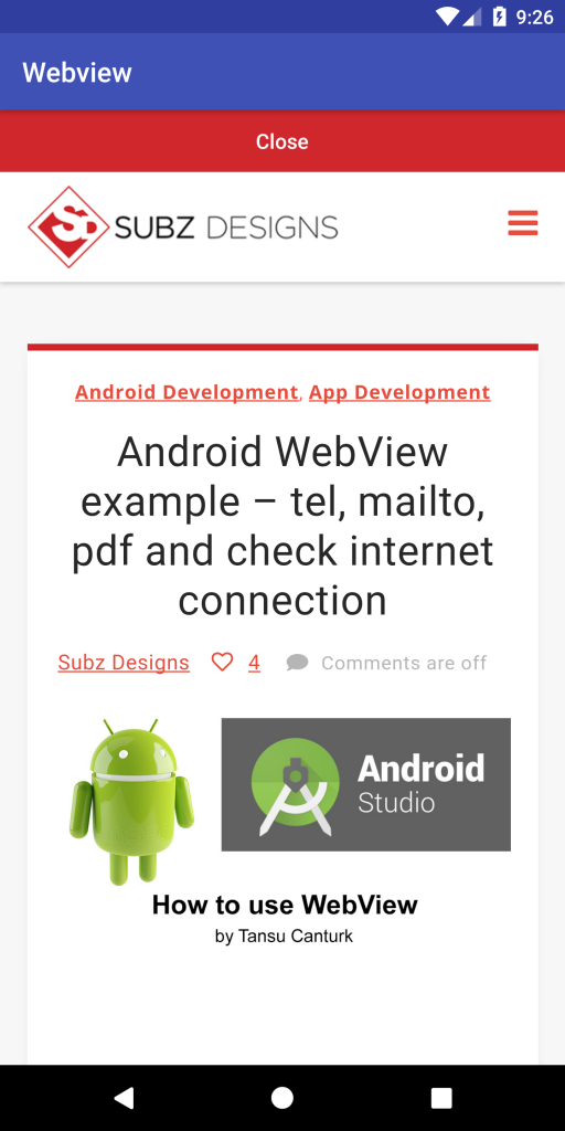 Android WebView example - tel, mailto, pdf and check